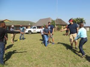 People team building in field
