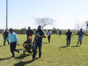 Men pulling cart