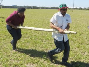 People carrying poles in field