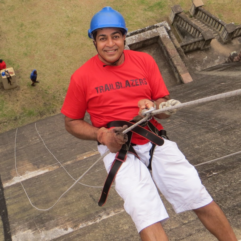 Man abseiling
