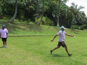 Man walking on grass