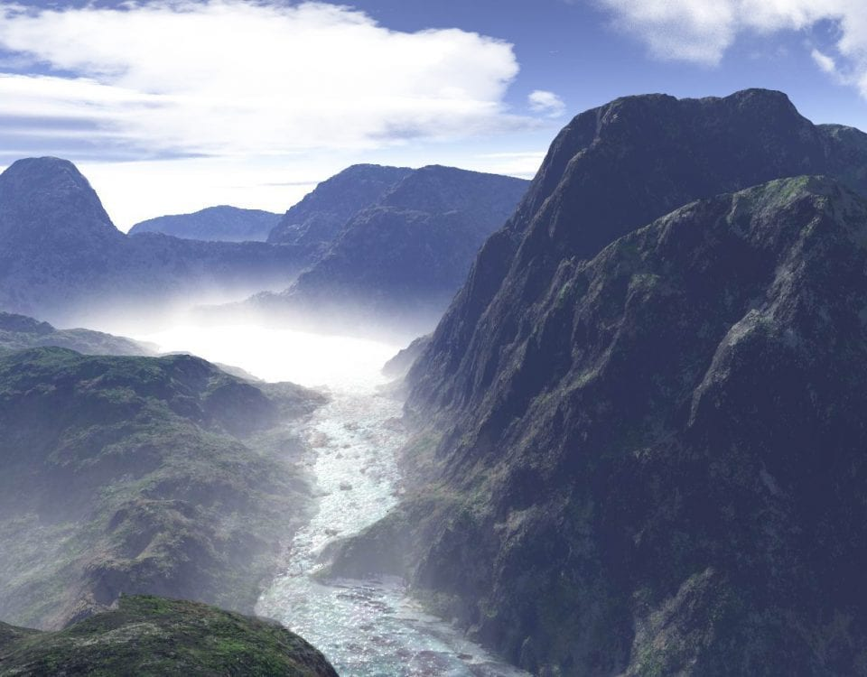 Mountains and valley with river