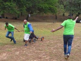 Men pulling a cart