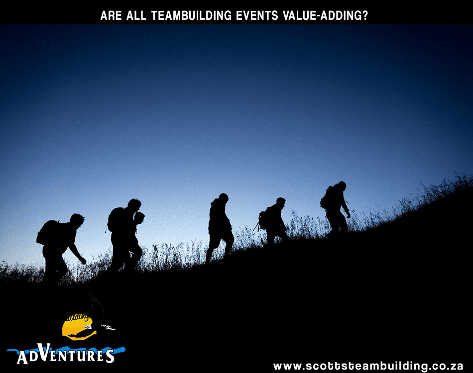 People walking silhouette in scotts teambuilding