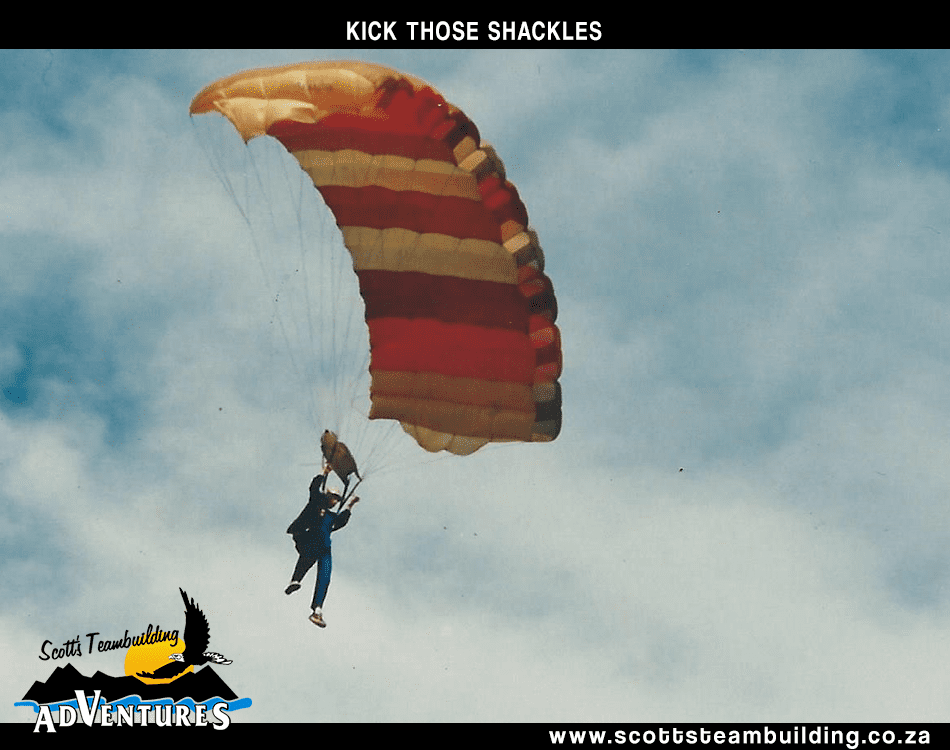a person descending in a parachute