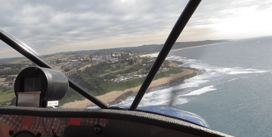 Aerial view over durban from a plane