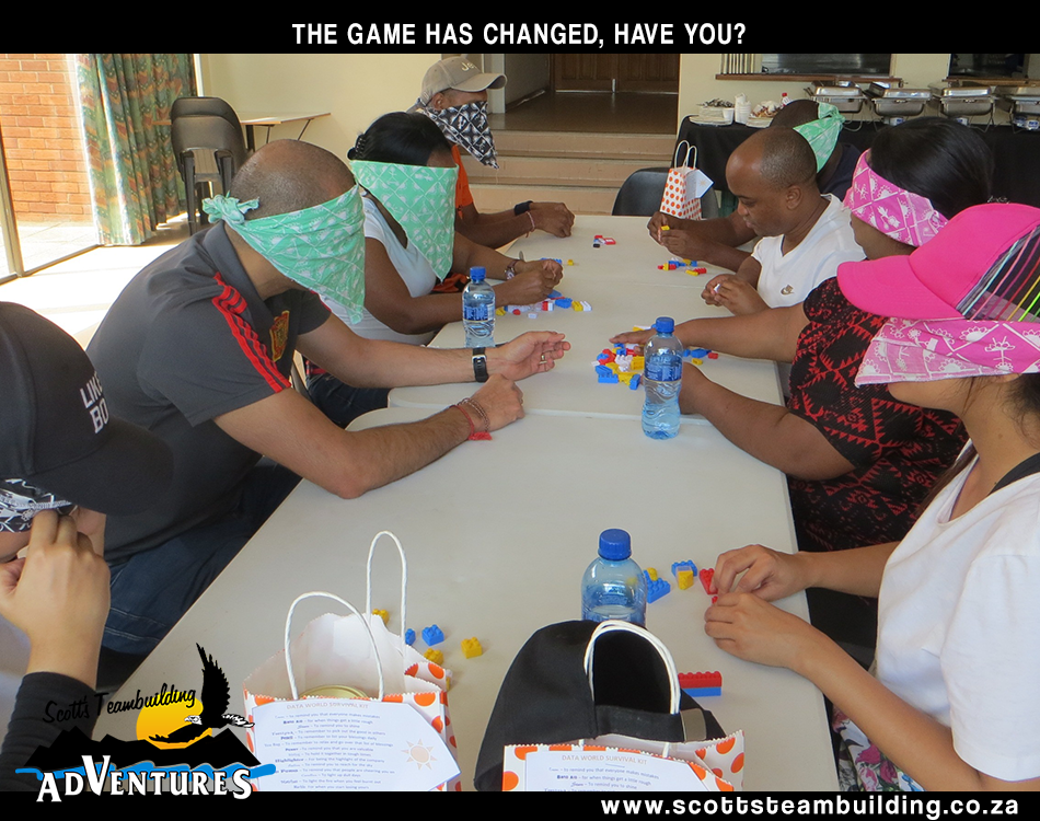 People around a table with blindfolds on