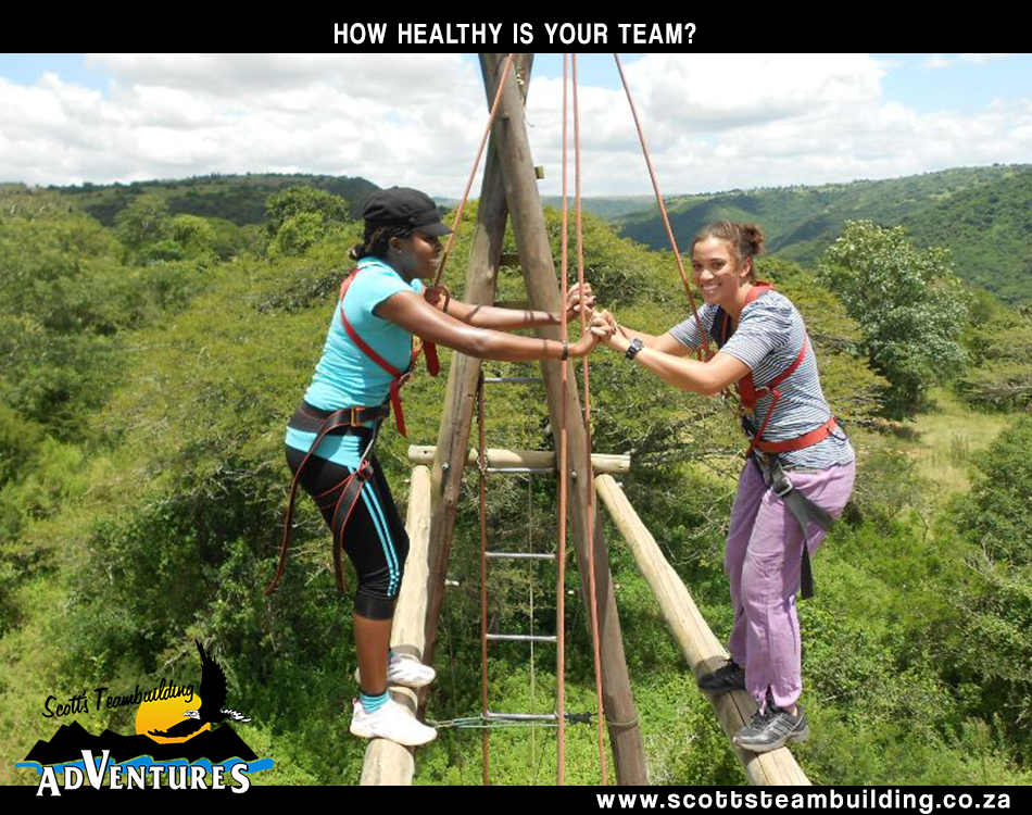 @ ladies balancing on a beam and helping eachother across