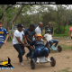 Group doing a teambuilding challenge on go carts