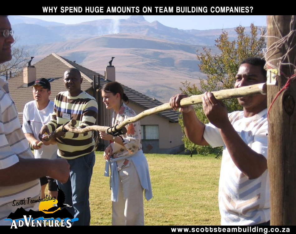 People doing a teambuilding task