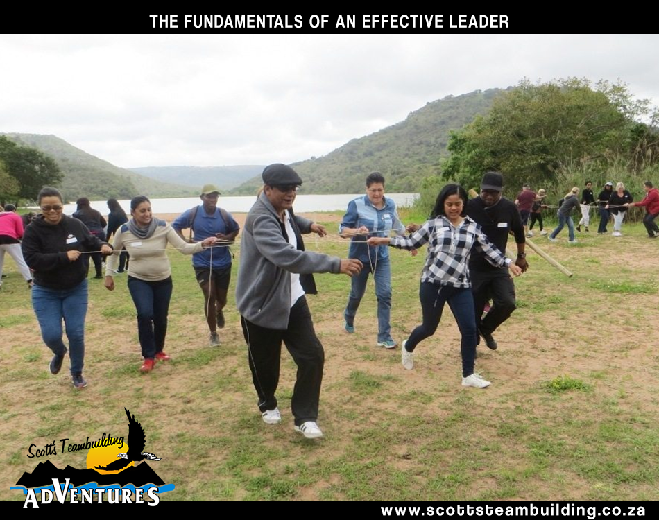 Leader doing a leadership task with team